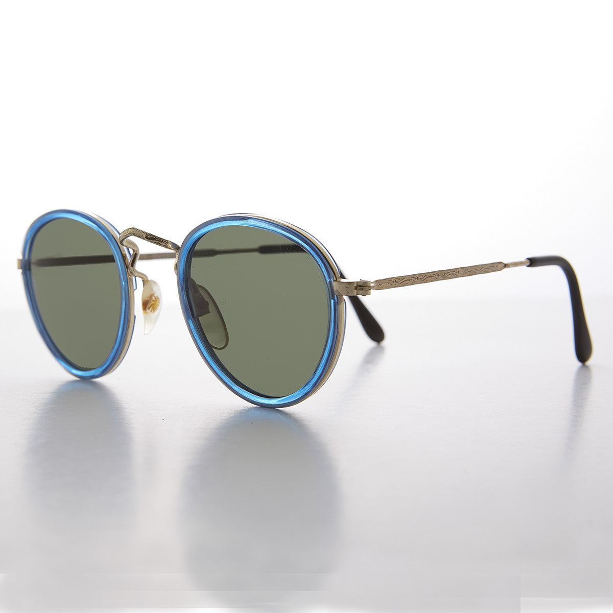 Colorful Round Preppy Vintage Sunglasses with Gold Frames - Maddie