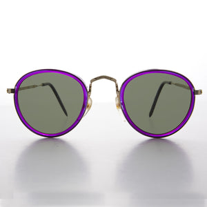 classic round purple colored frame metal and plastic combo vintage sunglass