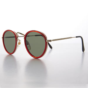 classic round red colored frame metal and plastic combo vintage sunglass