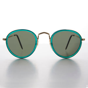 Colorful Round Preppy Vintage Sunglasses with Gold Frames