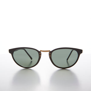 Small Cat Eye Sunglass with Gold Accents