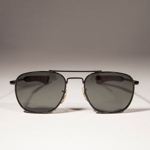Vintage Square Aviator Sunglasses with Paddle Temples