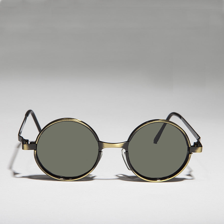 round steampunk metal sunglass