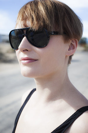 Black Acetate Glass Lens Unisex Aviator Sunglass Made in Japan - Agent Six