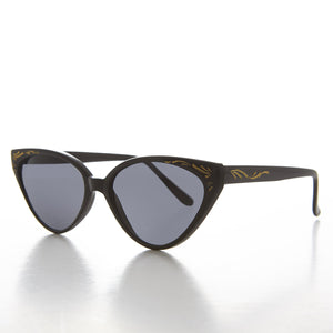 deco cat eye sunglass with gold embossing