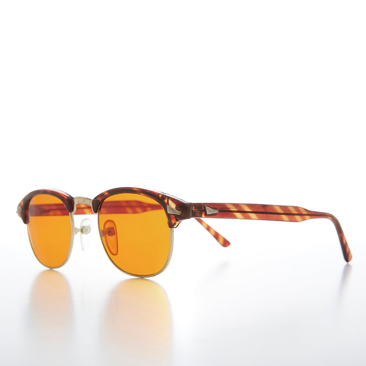 Half Frame Vintage Sunglass with Blue Blocker Amber Tinted Lens
