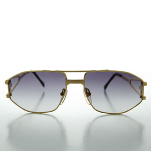 hip hop metal 80s vintage sunglass with gradient lens