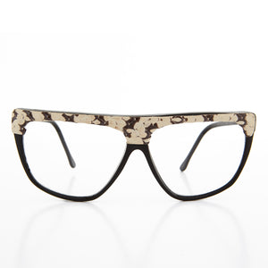 Hip Hop Snakeskin Brow Clear Lens 80s Vintage Eye Glasses