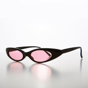 BlackSkinny Narrow Punk Rock Cat Eye Sunglass with Pink Lens- Slim 4