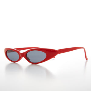 Red Skinny Narrow Punk Rock Cat Eye Sunglass
