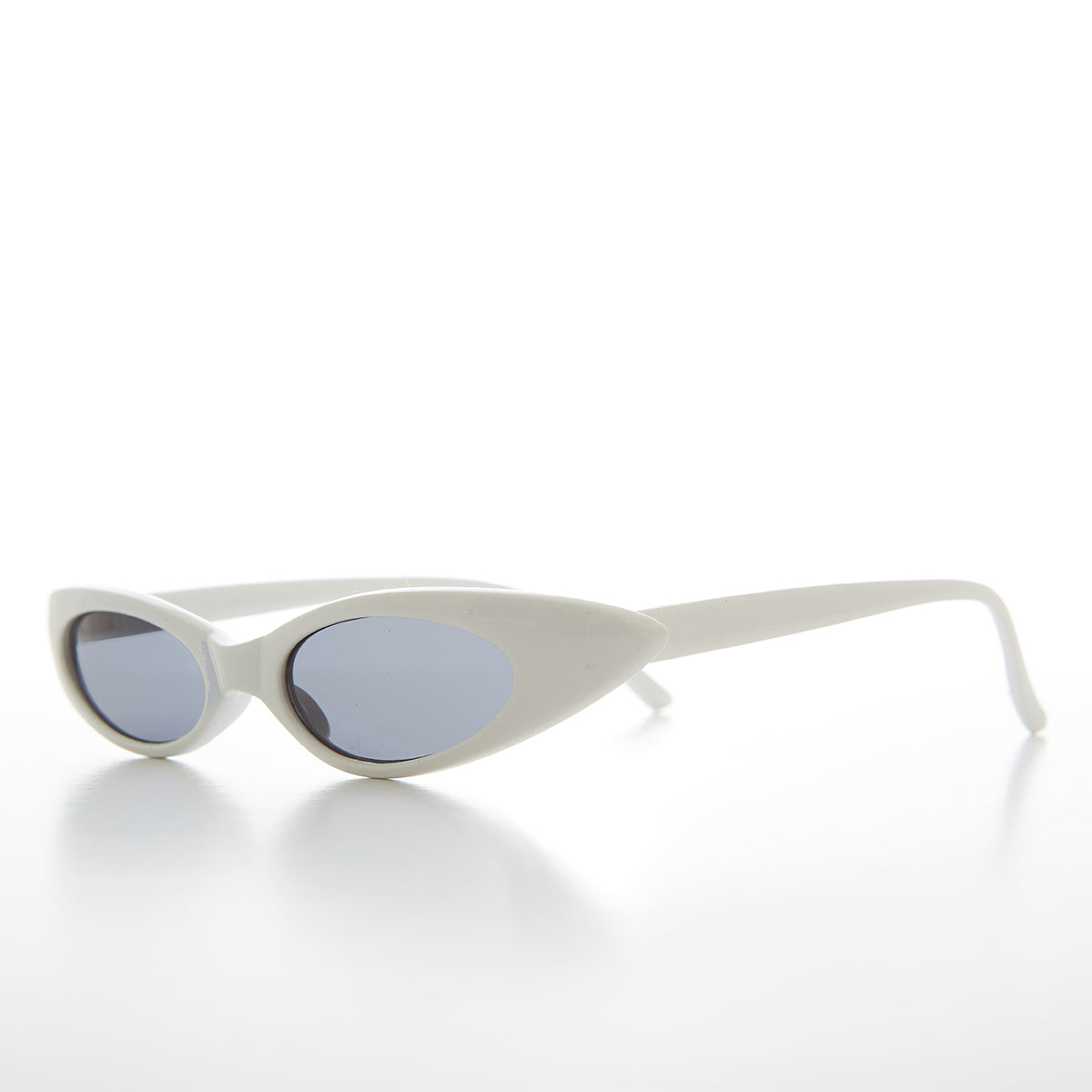 White Skinny Narrow Punk Rock Cat Eye Sunglass