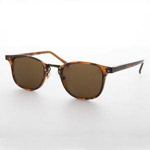 dapper horn rim vintage sunglass with combo metal acetate frame