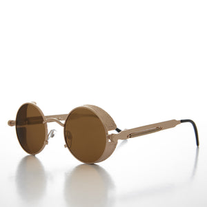round goggle side shield steampunk sunglasses