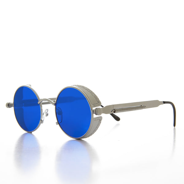 steampunk goggle sunglass with blue tinted lens