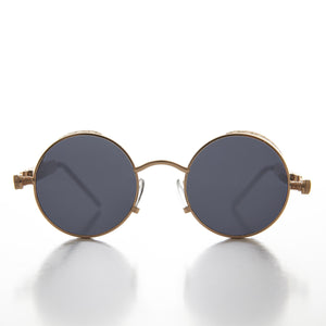 Gold Round Steampunk Goggle Sunglass with Spring Temples - Orwell 1