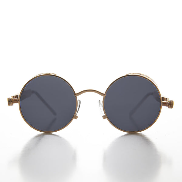 Round Steampunk Goggle Sunglass with Spring Temples - Orwell 1