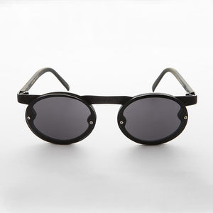 oval lens with black frame vintage steampunk sunglasses
