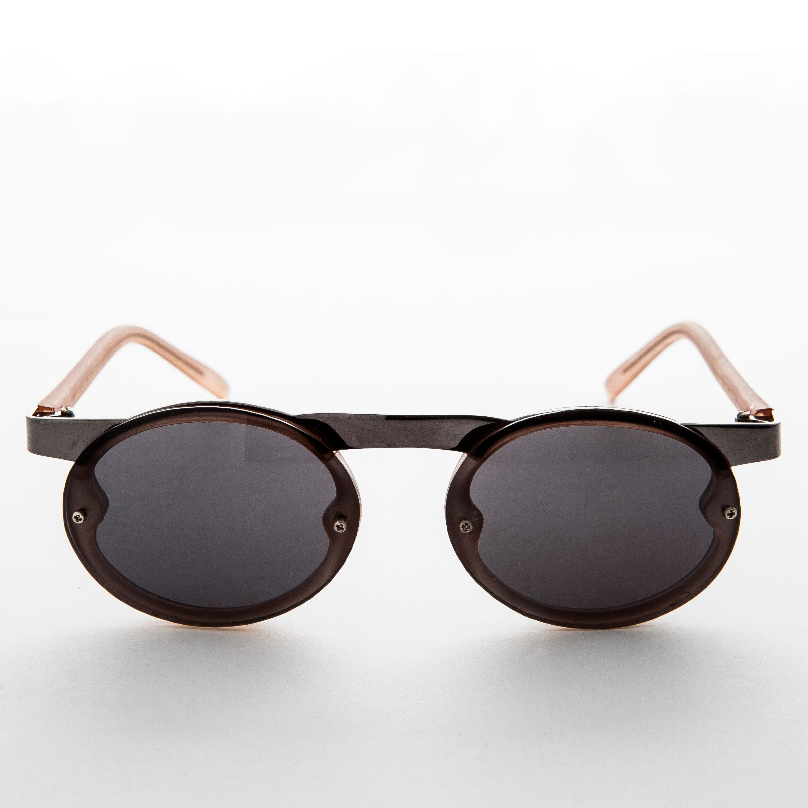 oval lens with brown and black frame vintage steampunk sunglasses