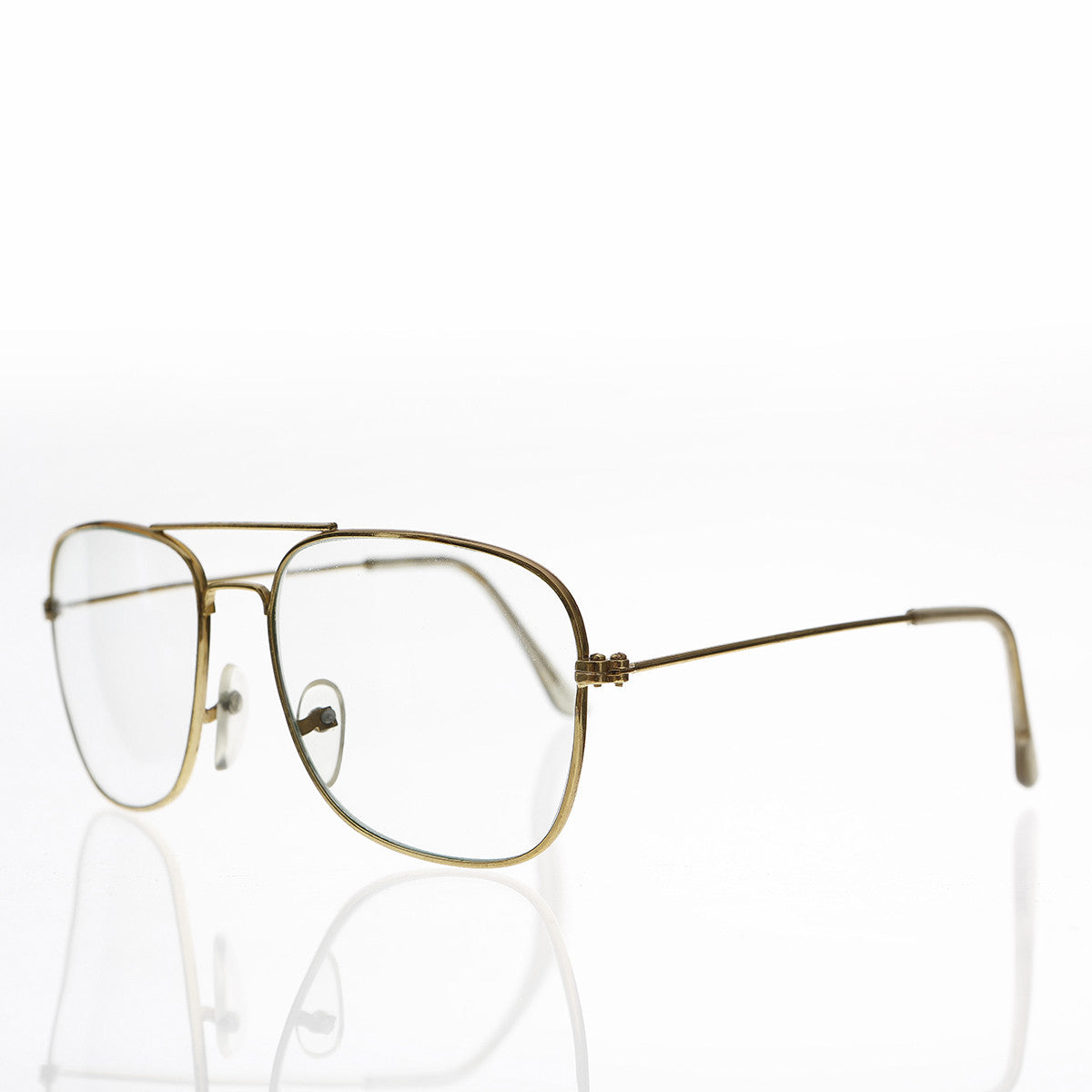 metal square clear lens aviator eyewear