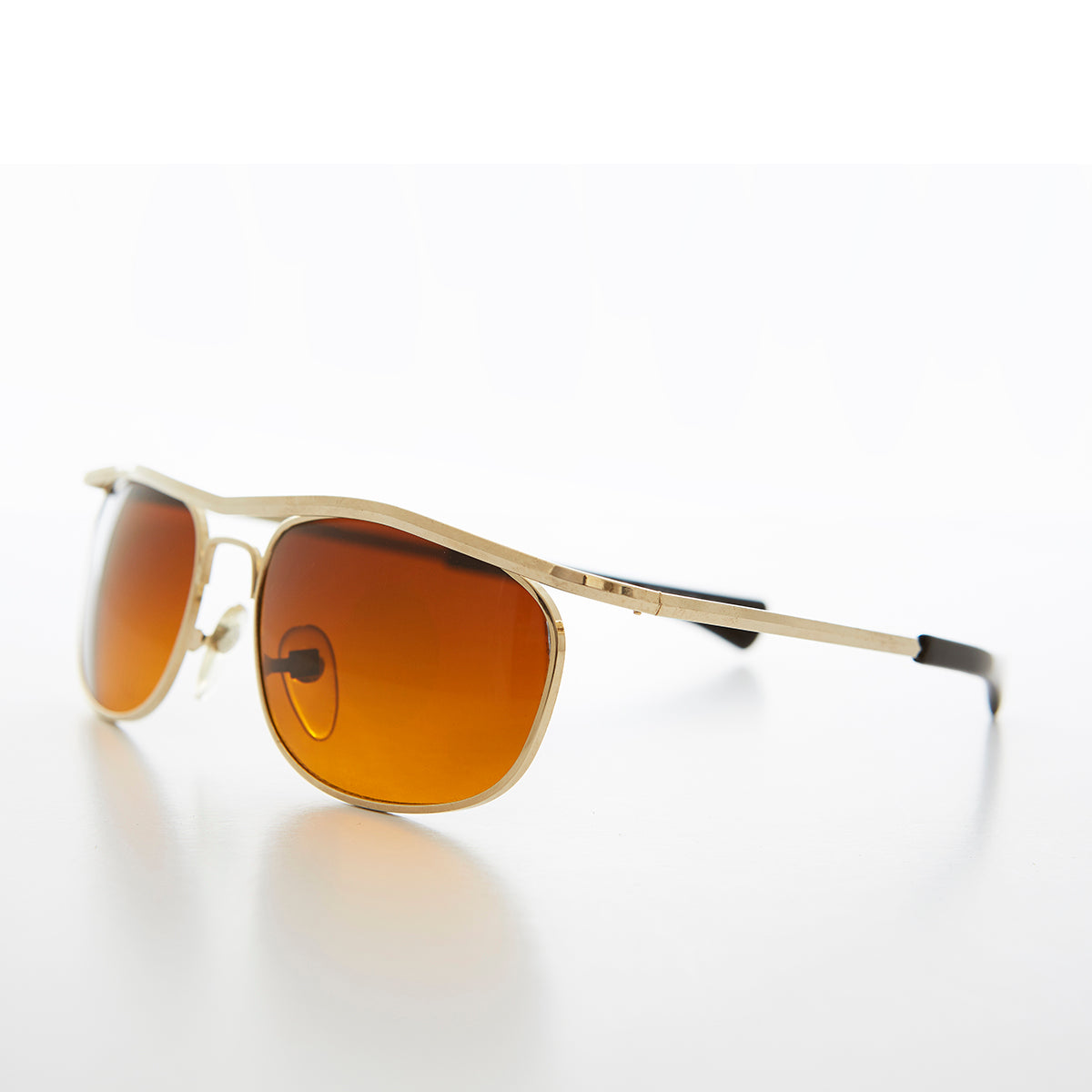 Gold Wrap Sunglass Amber Blue Blocking Lens