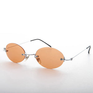orange rimless colored lens vintage sunglass