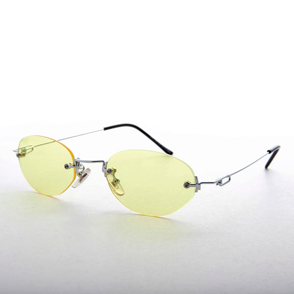 yellow rimless colored lens vintage sunglass
