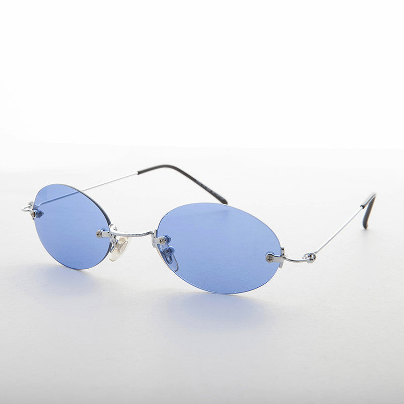 blue rimless colored lens vintage sunglass