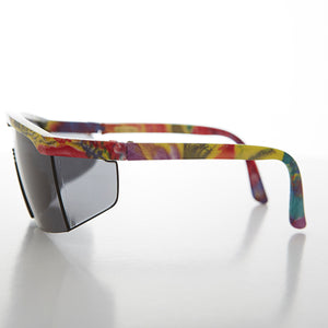 Sport's Shield Vintage Sunglass With Color Frames