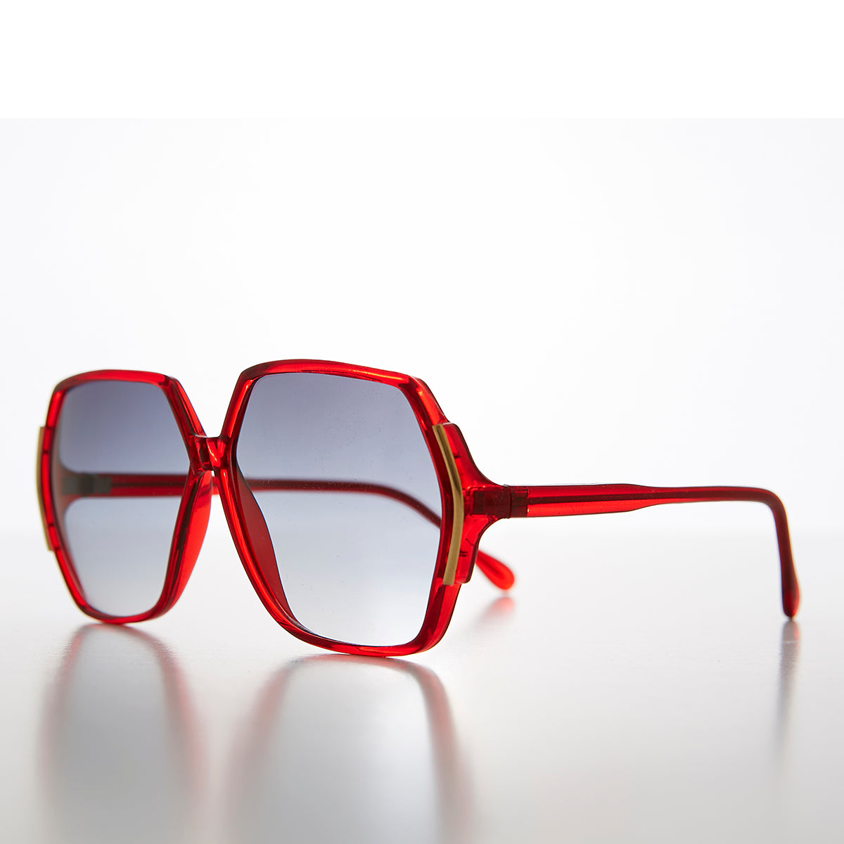 Oversized 80s Women's Polygon Vintage Sunglass - Remi