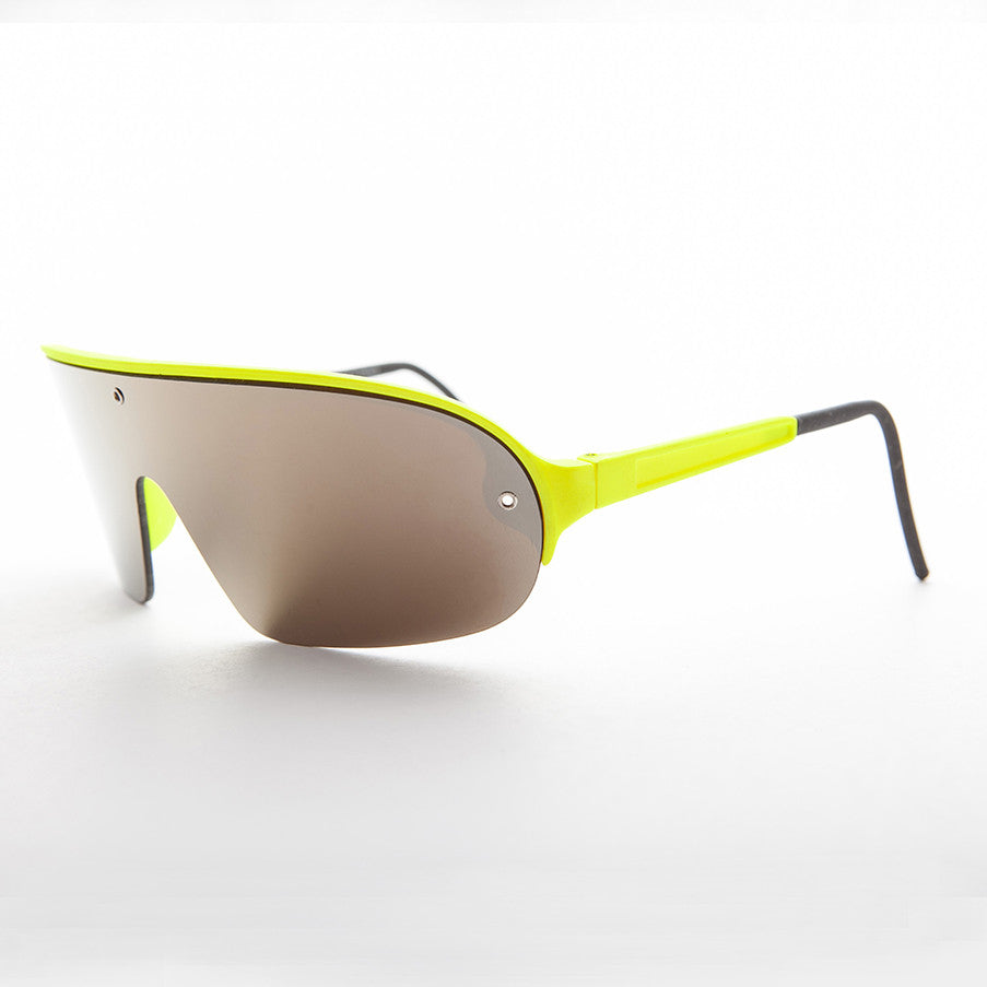 80's neon sporty shield warp vintage sunglass with mirror lens