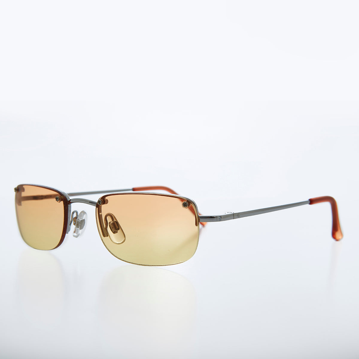 Rimless 90s Rectangle Sunglass with Two Color Lens