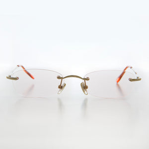 Rimless Tinted Rectangular Lens Reading Glasses