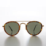 Round Vintage Aviator with Gold Cross Bar