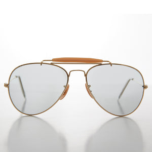 gold transition glass lens vintage aviator sunglass