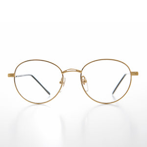 Round Gold Reading Glasses with Tube Temples