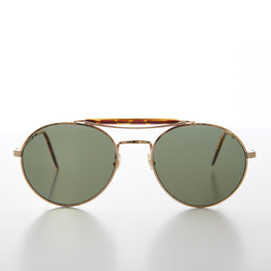 Round Gold Aviator with Tortoiseshell Brow Bar and Temples