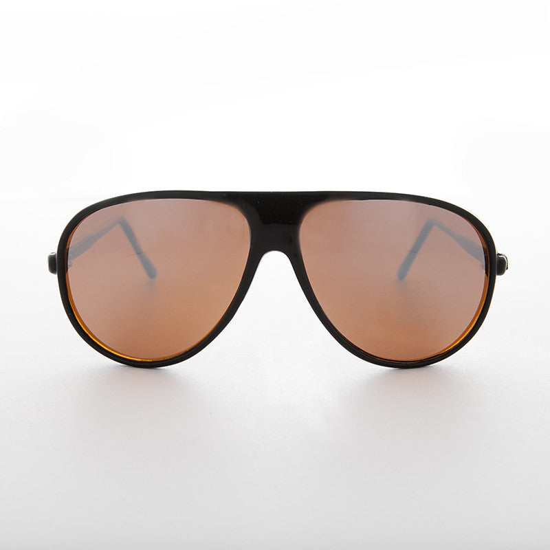 black vintage aviator with blue blocker lens