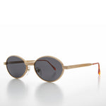 Oval 90s Vintage Sunglass with Metal Rope Design - Snuff