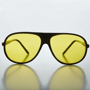 b5741fe11d Yellow Lens Black Frame Vintage Aviator Driving Sunglasses - Sol ...