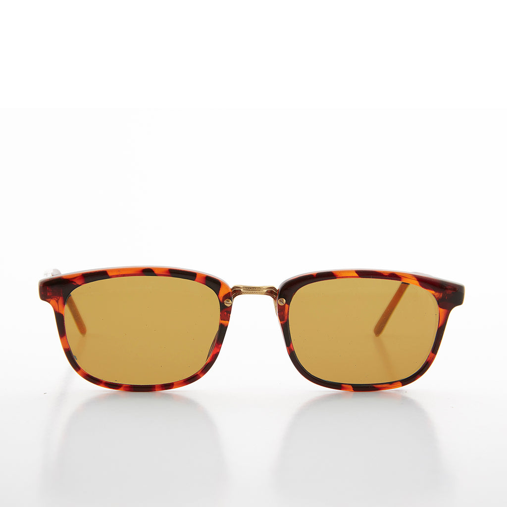 Rectangular Preppy Vintage Horn Rim Sunglass with Glass Lens