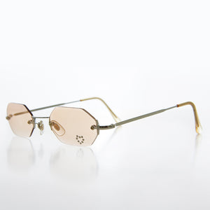 Rimless Hexagon Heart Rhinestone Vintage Sunglas