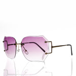 purple lens oversized rimless women's sunglass