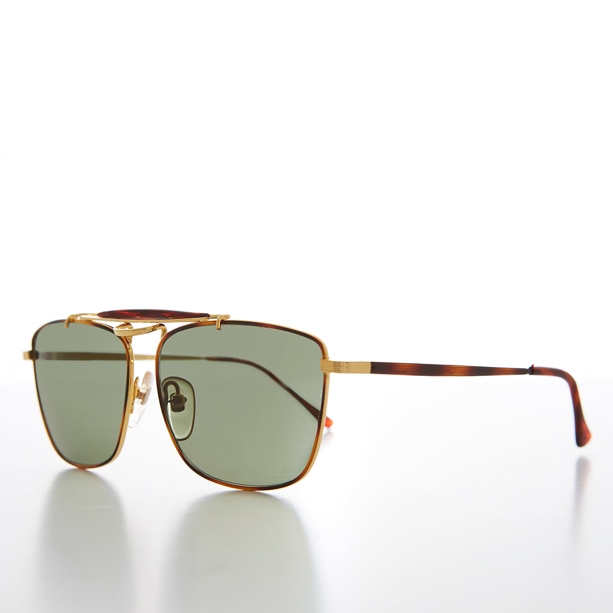 Gold Racing Aviator Vintage Sunglass