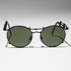 Rare Round 90s Steampunk Sunglass with Unique Temple