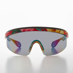 Shield Wrap Vintage Sunglass with Mirror Lens Floral Colors