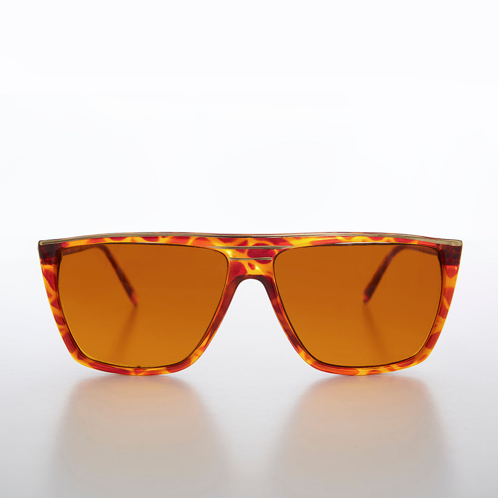 Flat Top Vintage Sunglass with Amber Blue Blocking Lens