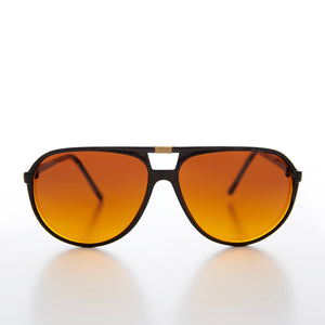 Unisex Aviator 80s Sunglass with Amber Blue Blocker Lens