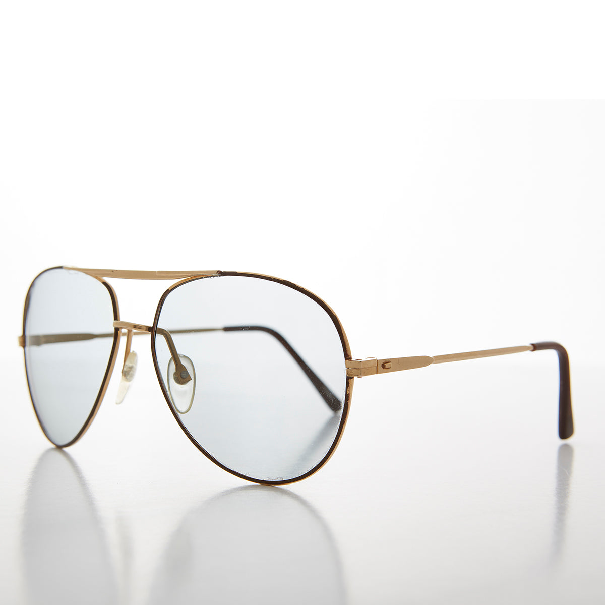 Gold and Brown 62 mm Vintage Aviator Sunglass