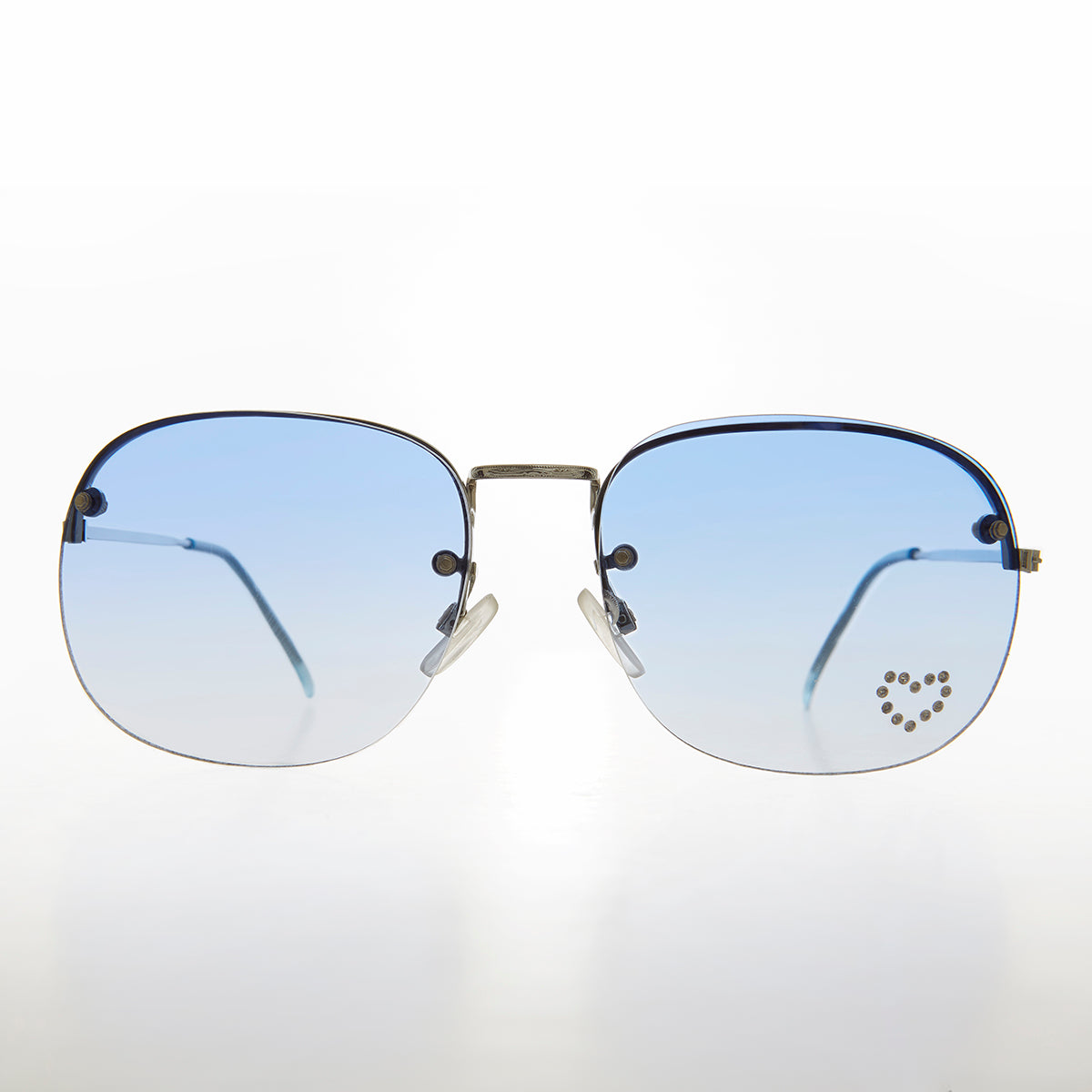 Rimless Vintage Sunglass with Rhinestone Heart