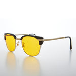 Load image into Gallery viewer, Yellow Amber Tinted Lens Classic Browline Vintage Sunglass